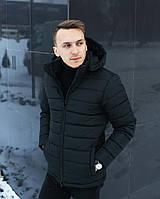 Зимняя мужская куртка с капюшоном black. Живое фото