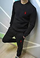 Спортивный костюм мужской теплый Ralph lauren утепленный black. Живое фото. реплика