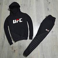 Спортивный зимний костюм UFC с капюшоном утепленный black. Живое фото. реплика