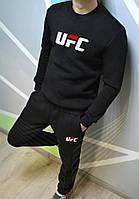 Спортивный зимний костюм UFC без капюшона утепленный black. Живое фото. реплика
