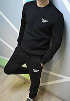 Спортивный зимний костюм Reebok без капюшона утепленный черный. Живое фото. реплика