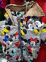 Детская демисезонная куртка Микки, на 1-4 года, стальной
