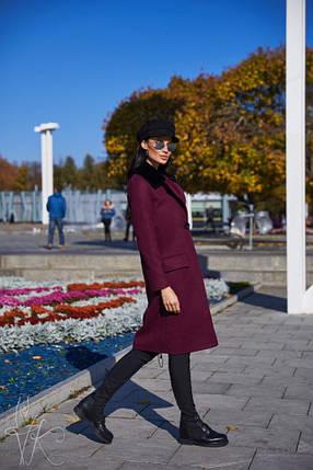 Элегантное женское демисезонное пальто бордового цвета 42-44 р, фото 2