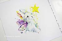 Панелька сатин Кролик+звезда 50*50
