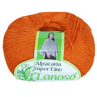 Зимняя пряжа Lanoso Alpacana Super Fine 906 25% альпака оранжевая