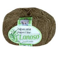 Зимняя пряжа Lanoso Alpacana Super Fine 909 25% альпака коричневая