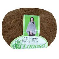 Зимняя пряжа Lanoso Alpacana Super Fine 926 25% альпака коричневая