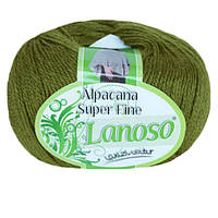 Зимняя пряжа Lanoso Alpacana Super Fine 936 25% альпака зеленая