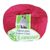 Зимняя пряжа Lanoso Alpacana Super Fine 948 25% альпака темно розовая