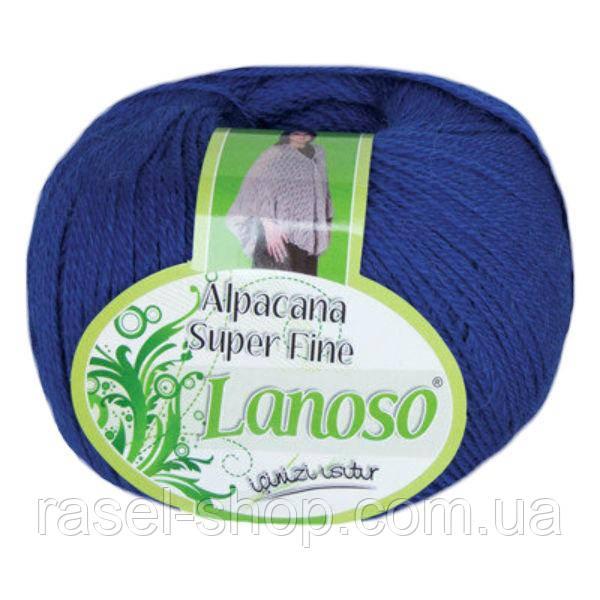 Зимняя пряжа Lanoso Alpacana Super Fine 954 25% альпака ярко синяя