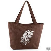 Летняя женская сумка из ткани для отдыха коричневая  «Девушка с кудряшками»