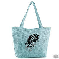 Летняя женская сумка из ткани для отдыха бирюзовая «Девушка с кудряшками»