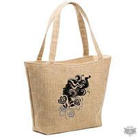 Летняя женская сумка из ткани для отдыха «Девушка с кудряшками»