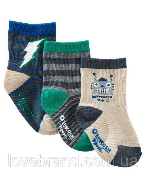 """Набор c 3-х носочков  для мальчика OshKosh """"флеш"""" 3-12 мес/15-19 р носки для мальчика серые, синие"""