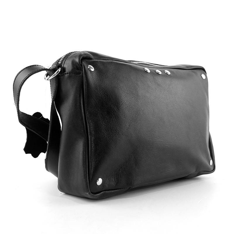 f164001f1b83 Черная кожаная сумка Viladi 073 кросс-боди через плечо молодежная, фото 1