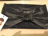 Широкая повязка-чалма  на голову из серого бархата