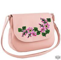 Женская сумочка через плечо с вышивкой Габриела розовая и белая