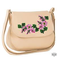 Женская сумочка через плечо с вышивкой Габриела бежевая и желтая