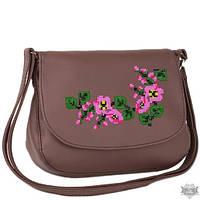 Женская сумочка через плечо с вышивкой Габриела зеленая и коричневая