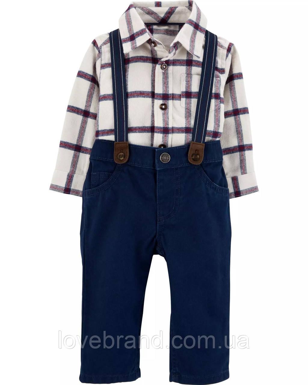 Нарядный костюм для мальчика Carter's (США) штаны на подтяжки + рубашка-боди 12 мес/72-78 см