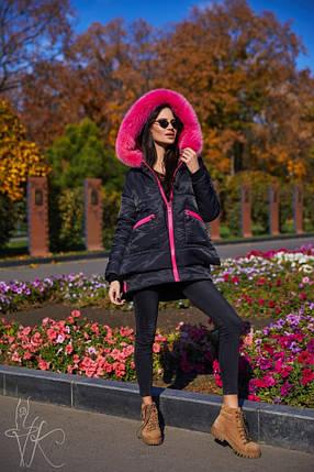 Жіноча зимове парку чорного кольору з экомехом 42-46, фото 2
