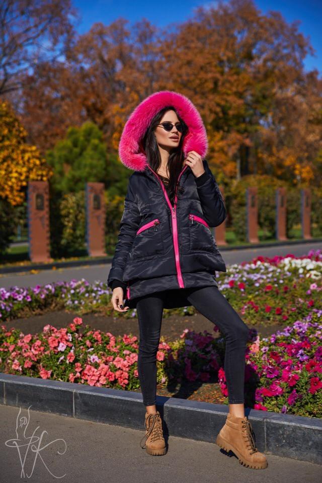Жіноча зимове парку чорного кольору з экомехом 42-46