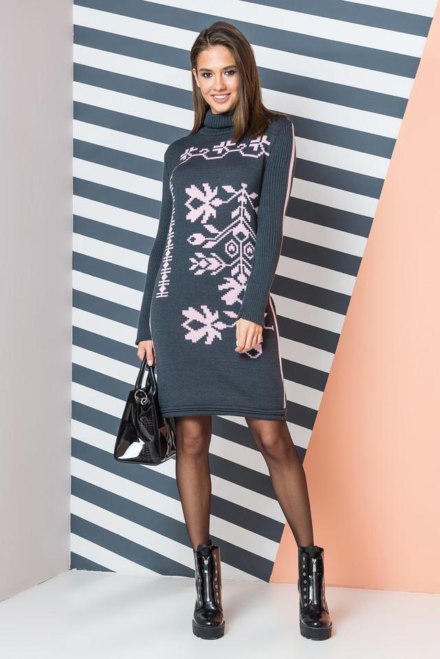 Теплое вязаное платье с орнаментом Ульяна (графит, розовый)