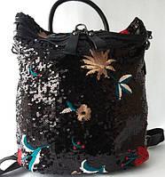 Стильный рюкзак из качественного кожзаменителя с вышивкой и пайетками, фото 1