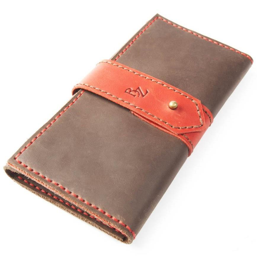 ffe5754954b8 Женское коричневое портмоне ручной работы из кожи BOGZ Grace P31M46S1