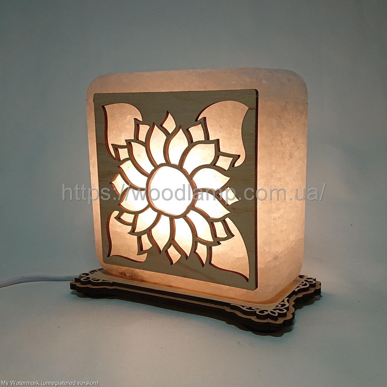 Соляной светильник квадратный Подсолнух