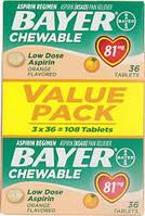 Bayer Aspirin Аспирин жевательный Low Dose 81 mg 108 табл