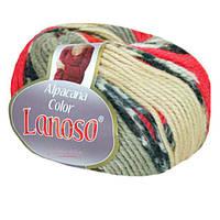 Зимняя пряжа Lanoso Alpacana Color 4009 25% альпака меланжевая