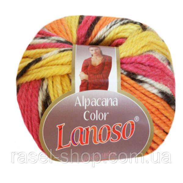 Зимняя пряжа Lanoso Alpacana Color 4012 25% альпака меланжевая