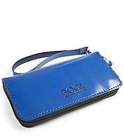 Мужской бизнес-клатч ручной работы из кожи BOGZ Multivision L Blue/Blue P13M33S8