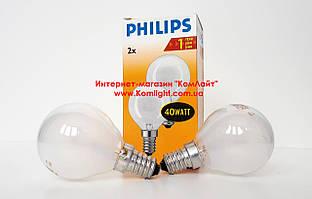 Лампа шарик матовый PHILIPS 40Вт 230В Е14 упаковка 2 шт (Польша)