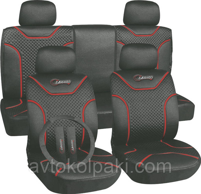 Авточехлы универсальные автомобильные  для салона полный Milex Classic чорные