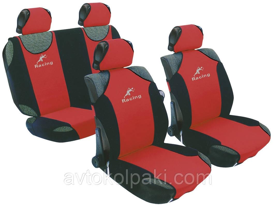 Майки чехлы универсальные автомобильные  для салона Milex Racing полный набор красные