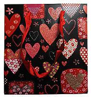 """Пакет подарунковий """"Блискучі серця"""" №8-239 (14*15*7см) 64905"""