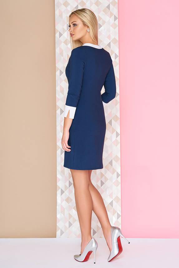 Классическое офисное платье повседневное синее, фото 2