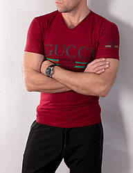 Мужская бордовая футболка Gucci