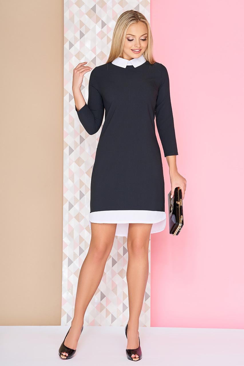 Платье офисное деловое с воротником трикотажное черное