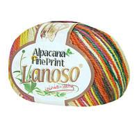 Зимняя пряжа Lanoso Alpacana Fine Print 808 25% альпака меланжевая