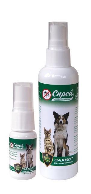 Спрей-реппелент ELIT ZOO 100 мл средство от комаров, мух, блох, вшей и других насекомых для собак и кошек