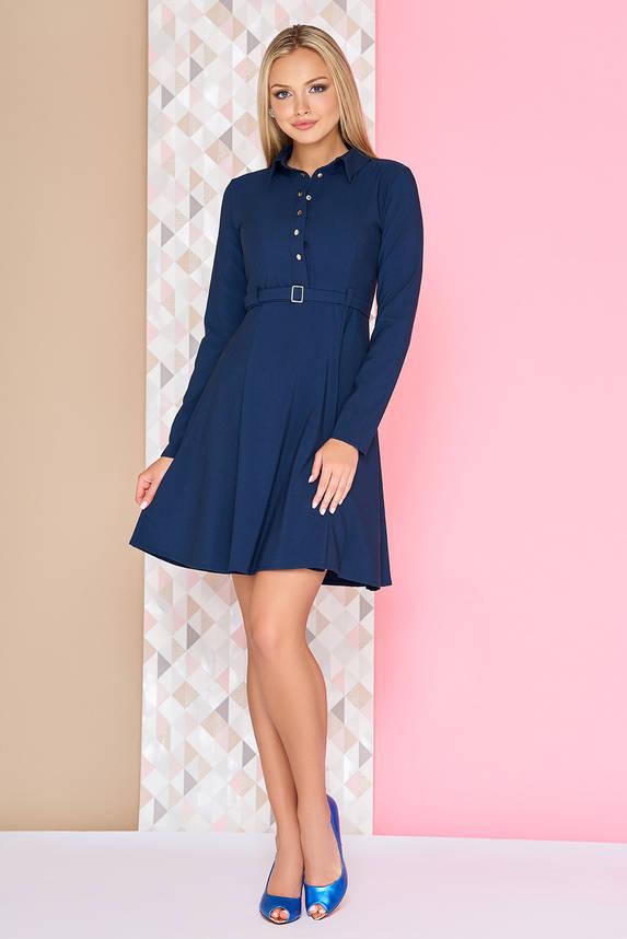Платье офисное расклешенное с поясом короткое синее, фото 2