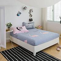 Хлопковая простынь на резинке Фламинго 180x200+25 см