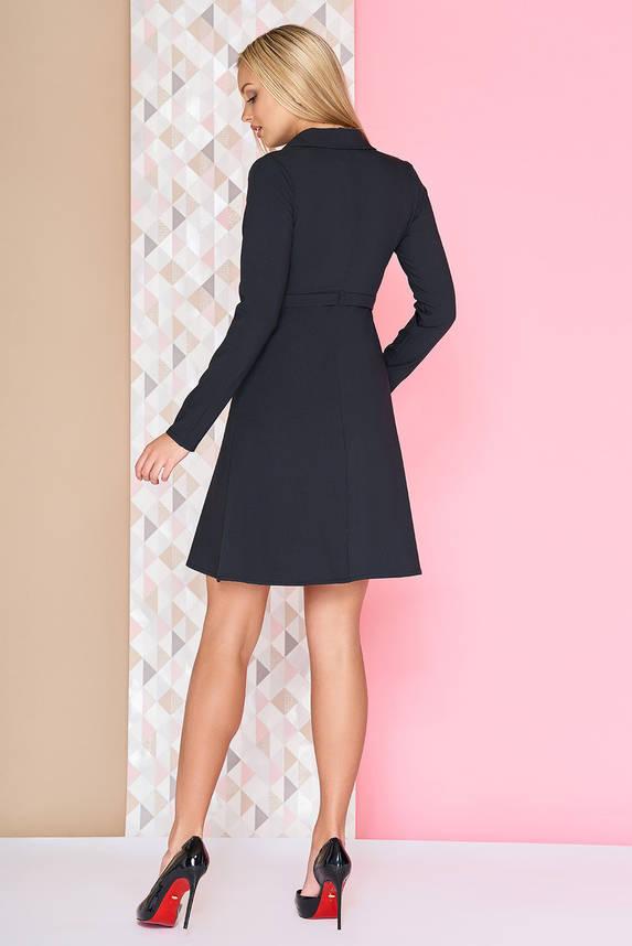 Платье офисное расклешенное с поясом короткое черное, фото 2
