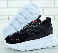 Женские кроссовки Versace Chain Reaction 2 Chainz black white сетчатые кроссовки. Живое фото (Реплика ААА+)