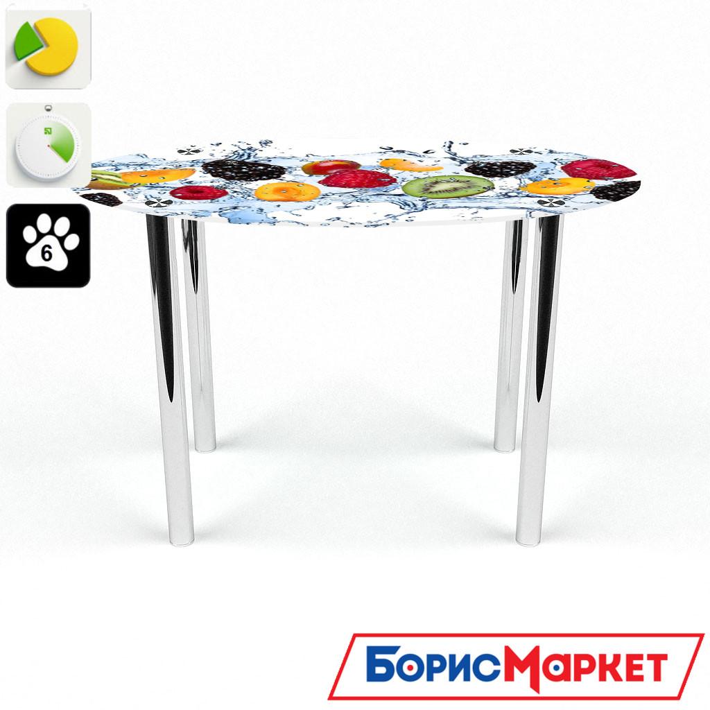 Обеденный стол стеклянный (фотопечать) Овальный Berry Mix  от БЦ-Стол