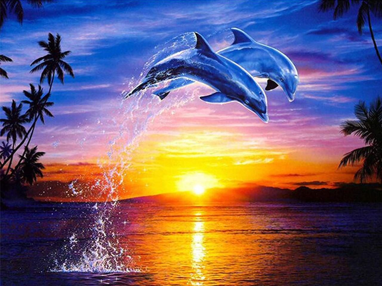 """Алмазная мозаика 30х30см - набор """"Дельфины"""""""