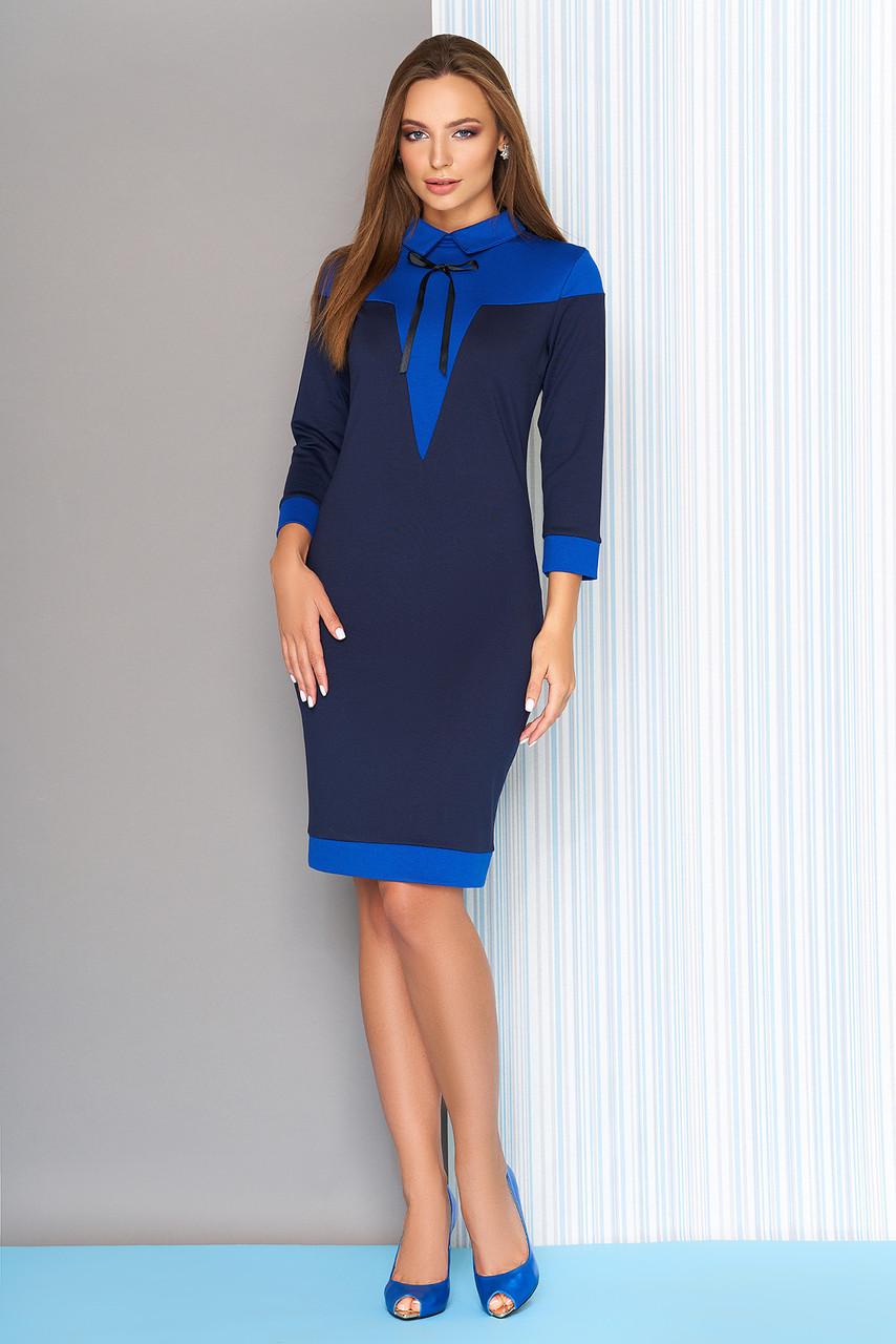 Красивое платье футляр офисное с воротником синее